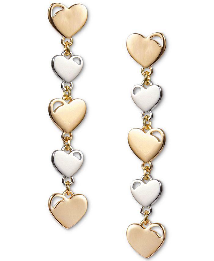 INC International Concepts - Two-Tone Heart Linear Drop Earrings