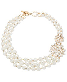 """Gold-Tone Imitation Pearl & Crystal 18"""" Strand Necklace"""