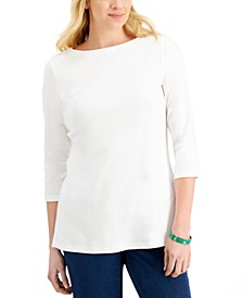 3/4-Sleeve Boat-Neck Tunic Top, Created for Macy's