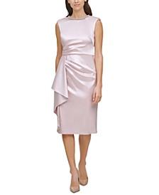 Embellished-Neck Ruffled Sheath Dress