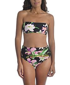 Moonlit Lotus Printed Bandeau Bikini Top & Moonlit Lotus Convertible Bikini Bottoms