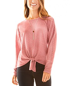 Juniors' Tie-Hem Necklace Top