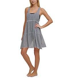 Burnout Stripes Dress Cover-Up