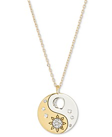"""Diamond Yin Yang Disc Pendant Necklace (1/10 ct. t.w.) in Sterling Silver & 18k Gold-Plate, 18"""" + 1"""" extender"""