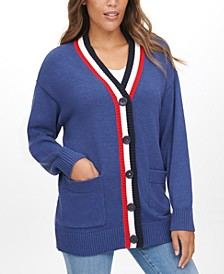 Flag-Back Cardigan Sweater