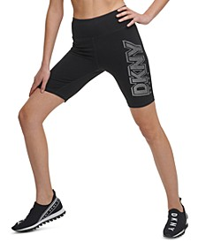 Sport Rhinestone-Logo High-Waist Bike Shorts