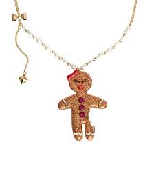 "Gingerbread Woman Pendant Long Necklace, 28"" + 3"" extender"