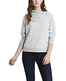 Women's Fold Over Neck Long Sleeve Top
