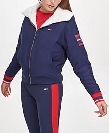 Sport Women's Reversible Faux Sherpa Cropped Bomber Jacket