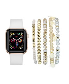 Unisex White Silicone Band for Apple Watch and Bracelet Bundle, 38mm