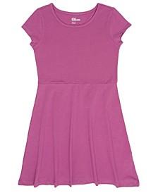 Big Girls Short Sleeve Solid Basic Dress