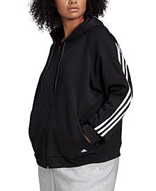 adidas Plus Size Full-Zip 3-Stripe Hoodie