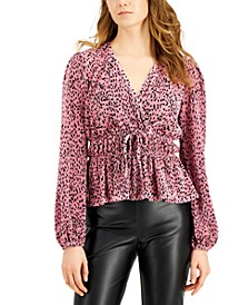 Juniors' Printed Pleated Balloon-Sleeved Top