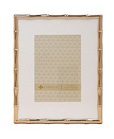 """High Quality Polished Cast Metal Picture Frame - Bamboo Design with Mat for, 8"""" x 10"""""""