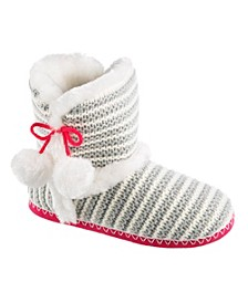 Totes Women's Striped Knit Bootie with Pom Pom Slippers