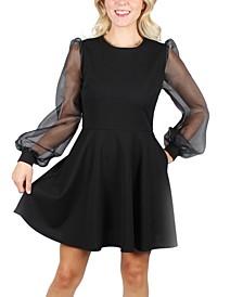 Juniors' Long Illusion-Sleeve Dress