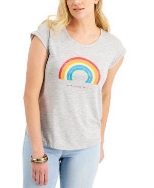 Style & Co T-shirts PETITE RAINBOW DAYS GRAPHIC-PRINT T-SHIRT, CREATED FOR MACY'S