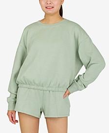 Juniors' Long-Sleeve Control-Hem Sweatshirt