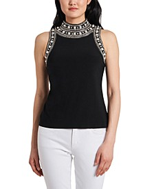 Petite Faux-Pearl High-Neck Top