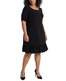 Plus Size Puff-Sleeve Flounce-Hem Shift Dress