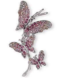 Silver-Tone Pavé Triple Butterfly Pin, Created for Macy's