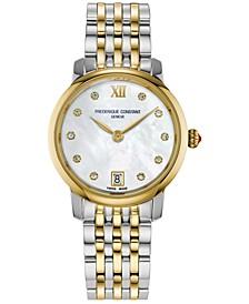 Women's Swiss Slimline Diamond (1/20 ct. t.w.) Two-Tone Stainless Steel Bracelet Watch 30mm