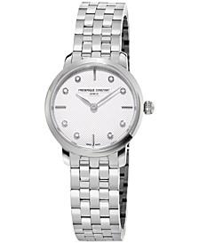 Women's Swiss Mini Slimline Diamond-Accent Stainless Steel Bracelet Watch 25mm