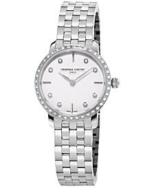 Women's Swiss Mini Slimline Diamond (1/3 ct. t.w.) Stainless Steel Bracelet Watch 25mm