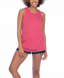 All American Lace-Trim Shorts Pajamas Set