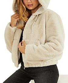 Hooded Faux-Fur Teddy Zip-Front Jacket