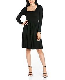 Women's Casual Long Sleeve Pleated Dress