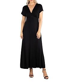 Women's Cap Sleeve V-Neck Maxi Dress
