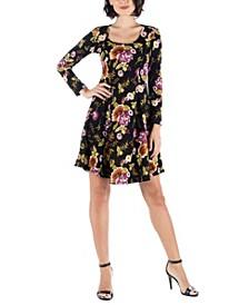 Women's Floral Long Sleeve Skater Dress