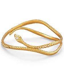 Vintage Gold-Tone Pavé Snake Bracelet