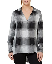 Plaid Crossover V-Neck Top