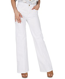 High-Rise Braided-Waistband Wide-Leg Jeans