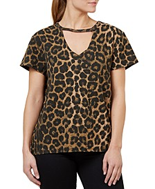Cotton Leopard-Print Ribbed Choker T-Shirt