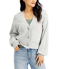 Cropped Button Closure Cardigan Jacket