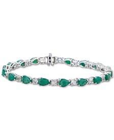 Emerald (6-1/4 ct. t.w.) & White Topaz (2-3/8 ct. t.w.) Link Bracelet in Sterling Silver (Also in Ruby)