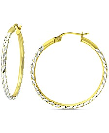 "Medium Textured Hoop Earrings in Sterling Silver & 18k Gold-Plate, 1.18"", Created for Macy's"