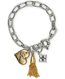Two-Tone Love Heart Charm Link Bracelet