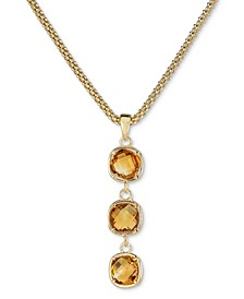 "Amethyst Triple Drop Pendant Necklace (2-3/8 ct. t.w.) in 14k Rose Gold-Plated Sterling Silver, 18"" + 3"" extender (Also in Citrine)"