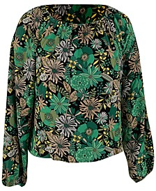 INC Plus Size Printed Peasant Top, Created for Macy's