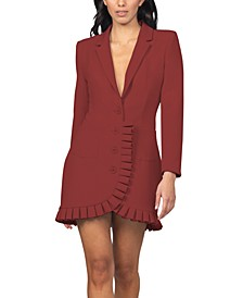 Juniors' Pleated-Ruffle-Trim Blazer Dress
