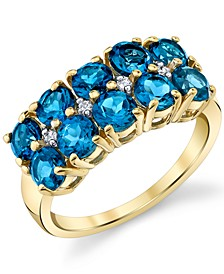 Blue Topaz (3 ct. t.w.) & Diamond (1/20 ct. t.w.) Diamond Double Row Ring in 14k Gold