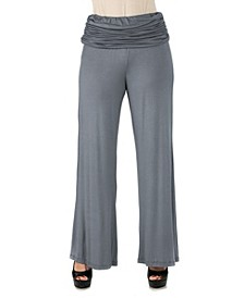 Women's Plus Size Fold Over Palazzo Pants