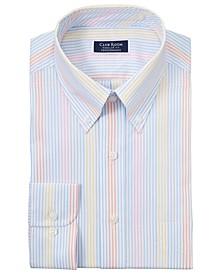 Men's Classic/Regular-Fit Performance Stretch Multi-Stripe Dress Shirt, Created for Macy's
