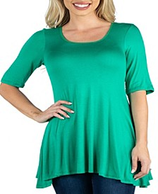 Women's Plus Elbow Sleeve Swing Tunic Top