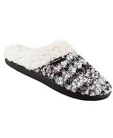 Isotoner Women's Sweater Knit Chunky Amanda Comfort Hoodback Slippers