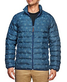 Men's Slim Fit Night Sky Print Puffer Jacket and a Free Face Mask